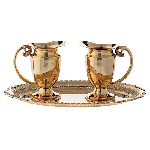 Servicio celebración vinajeras y bandeja latón dorado clásico 1