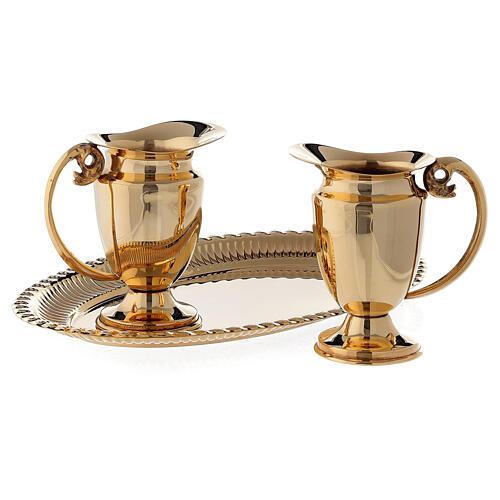 Servicio celebración vinajeras y bandeja latón dorado clásico 2