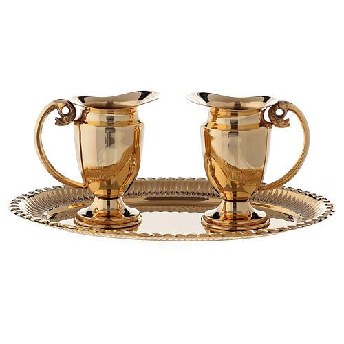 Servicio celebración vinajeras y bandeja latón dorado clásico 6