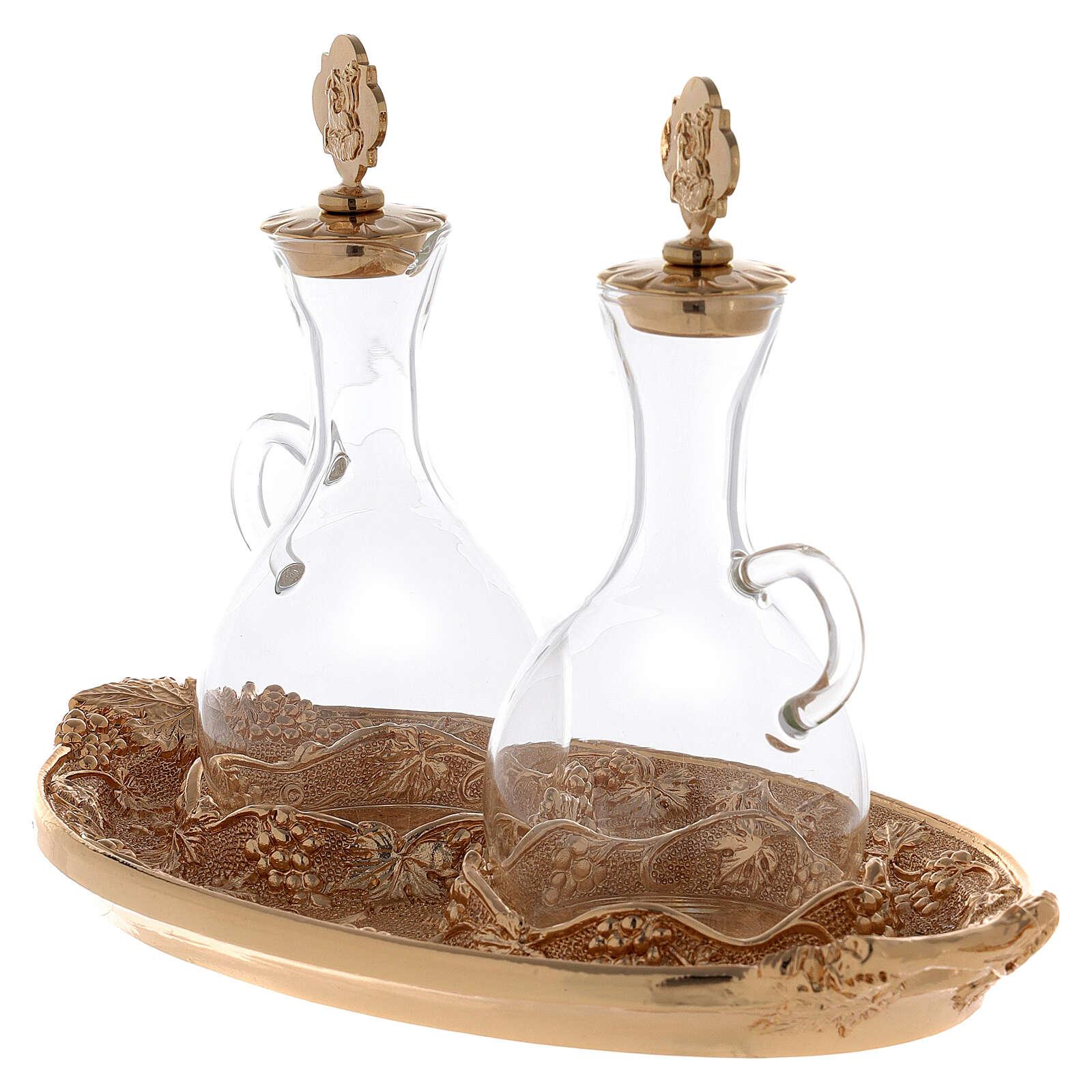 Vinajeras de vidrio con bandeja dorada 4
