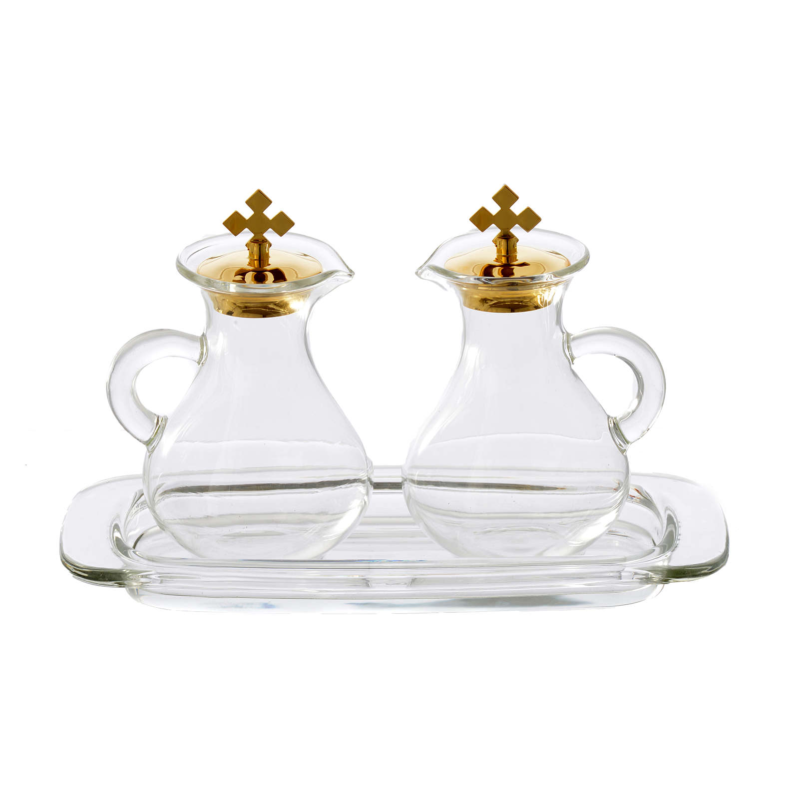 Set with 2 glass cruets and tray 4