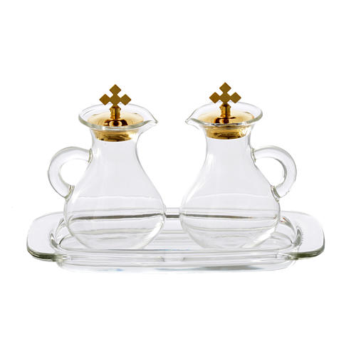 Set with 2 glass cruets and tray 1