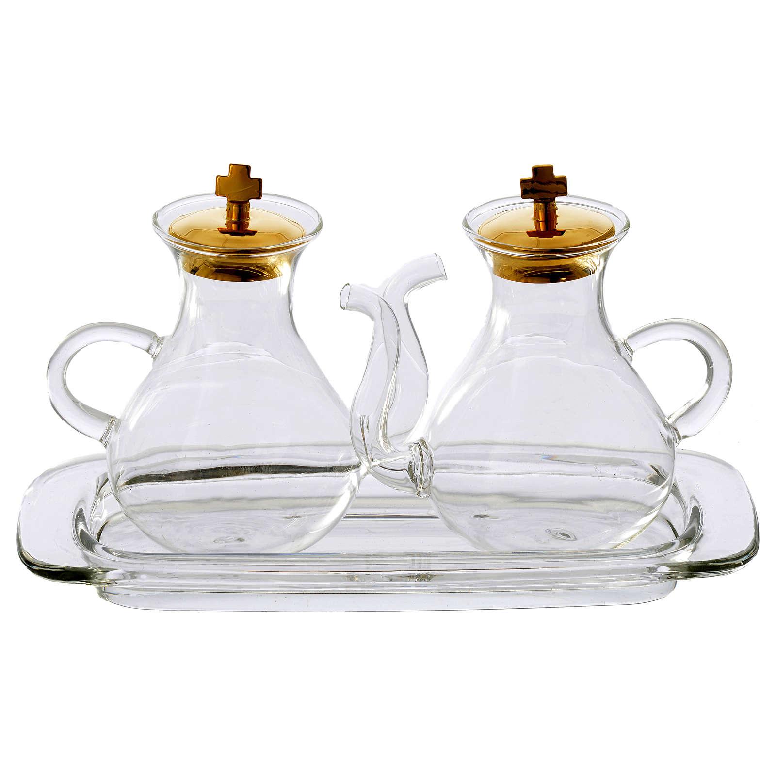 Set vinajeras con vertedor y bandeja de vidrio 4