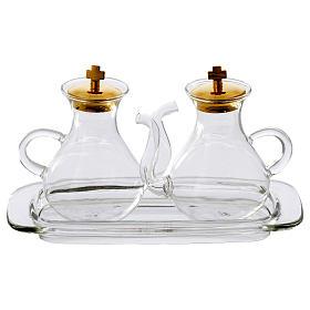 Set vinajeras con vertedor y bandeja de vidrio s1