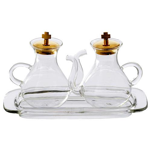 Set vinajeras con vertedor y bandeja de vidrio 1
