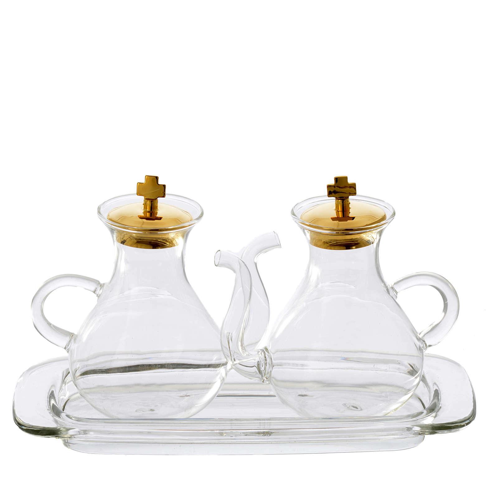 Set ampolline con beccuccio e vassoio in vetro 4