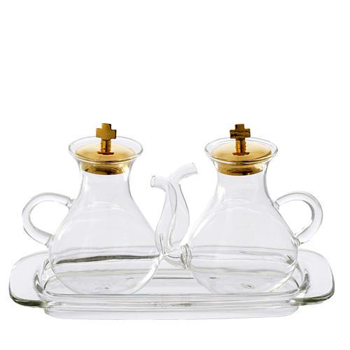 Set ampolline con beccuccio e vassoio in vetro 1