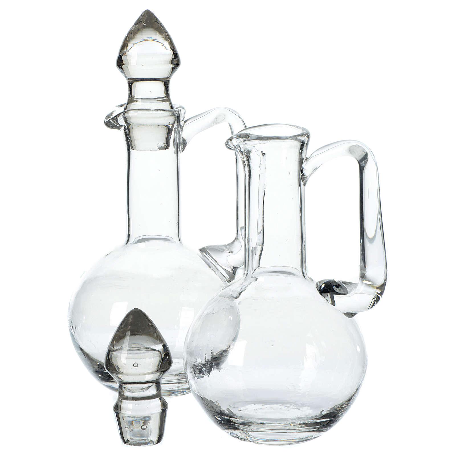Cruet set in glass with caps 4
