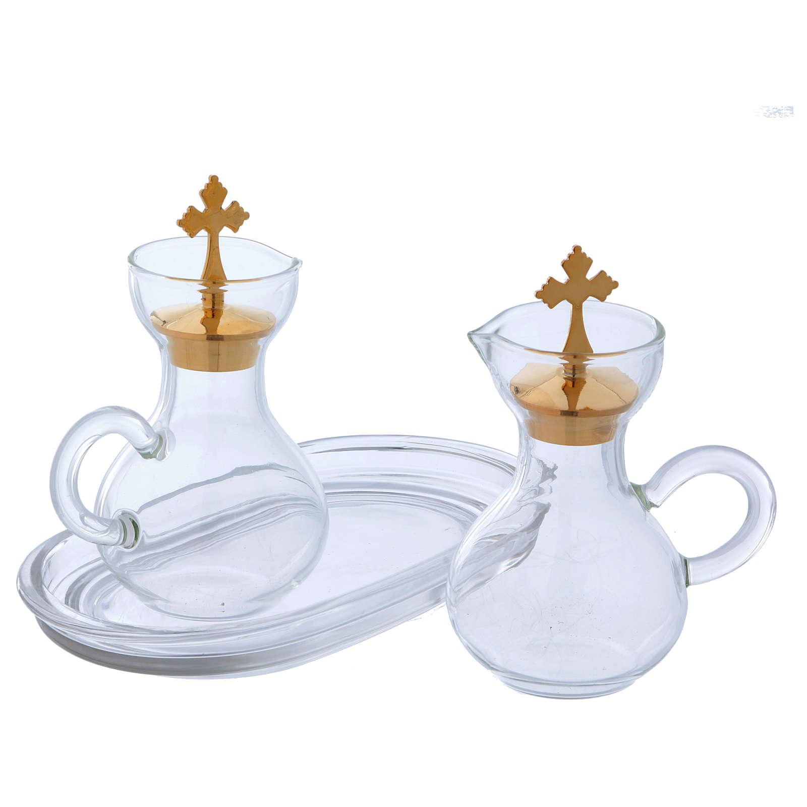 Glass cruets with plate 110 ml 4