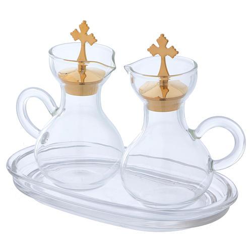 Glass cruets with plate 110 ml 2