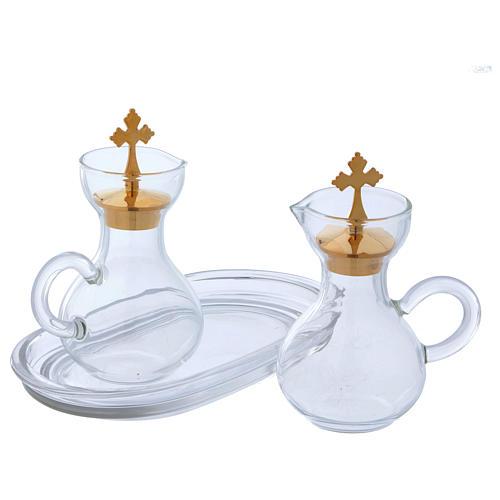 Glass cruets with plate 110 ml 3