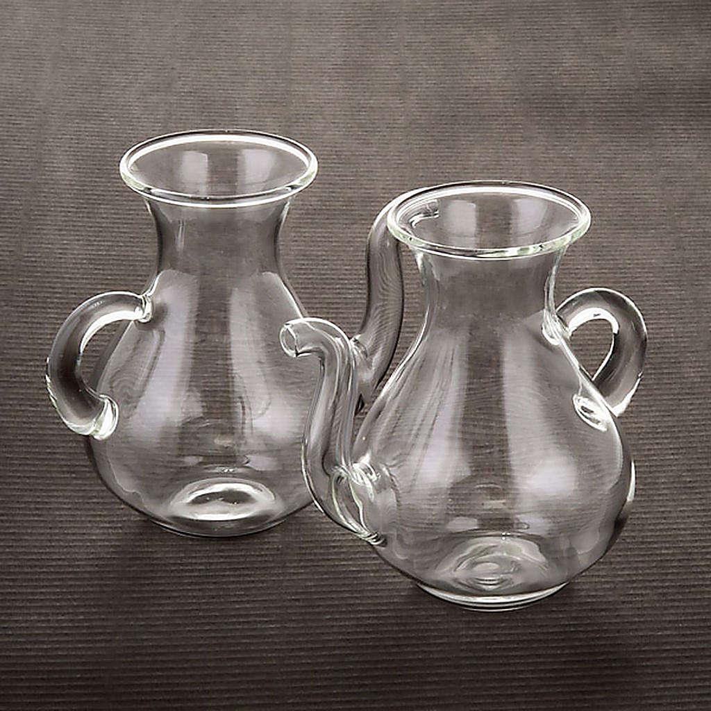 Pareja de vinajeras con pitorro de vidrio 4