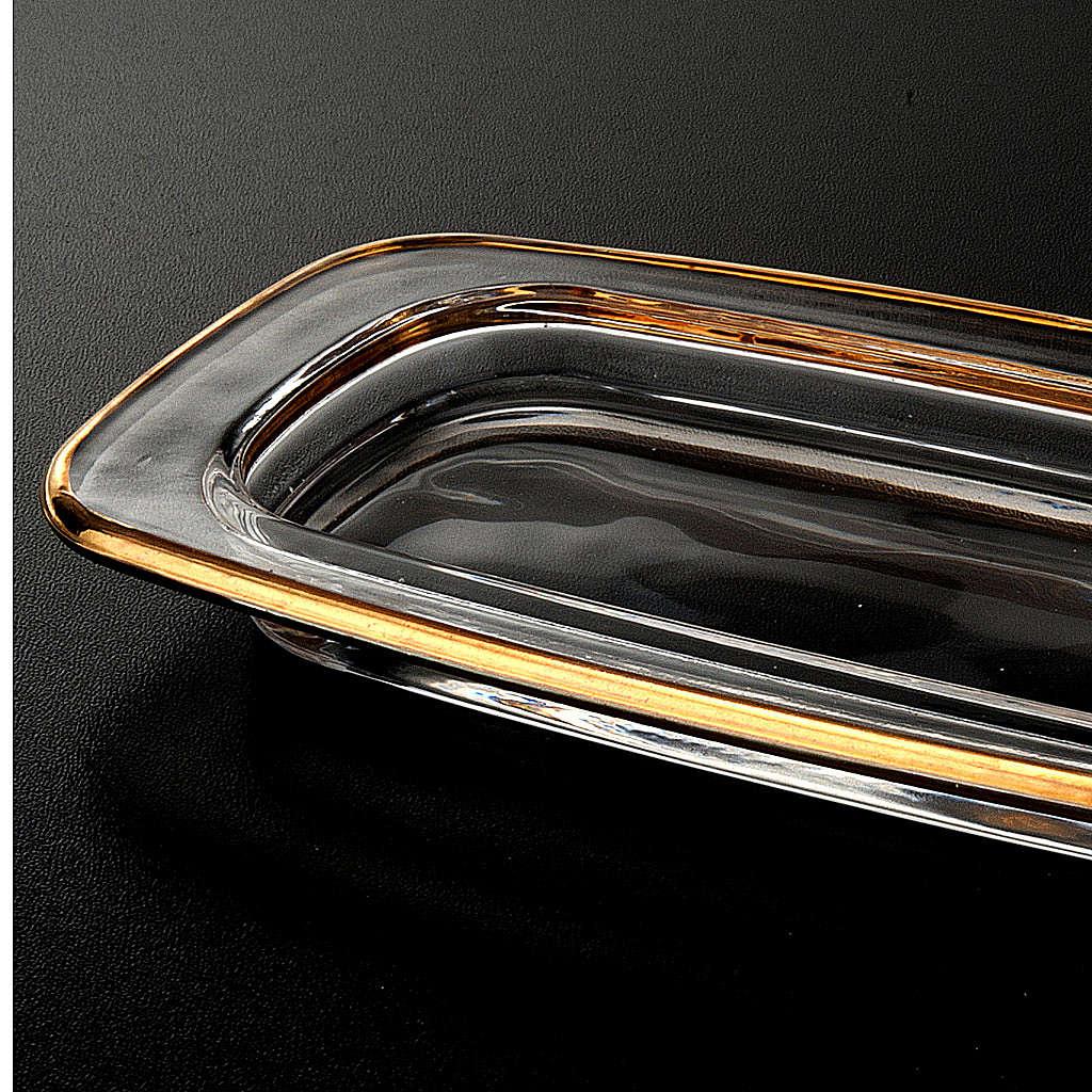 Plato de cristal cuadrado dorado 20x 9,5 cm. 4