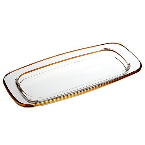 Plato de cristal cuadrado dorado 20x 9,5 cm. 1