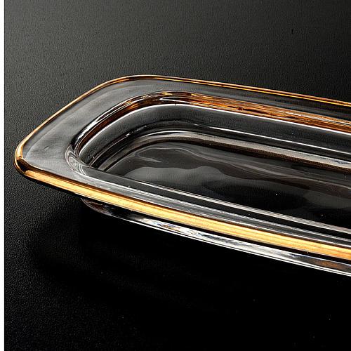 Plato de cristal cuadrado dorado 20x 9,5 cm. 2