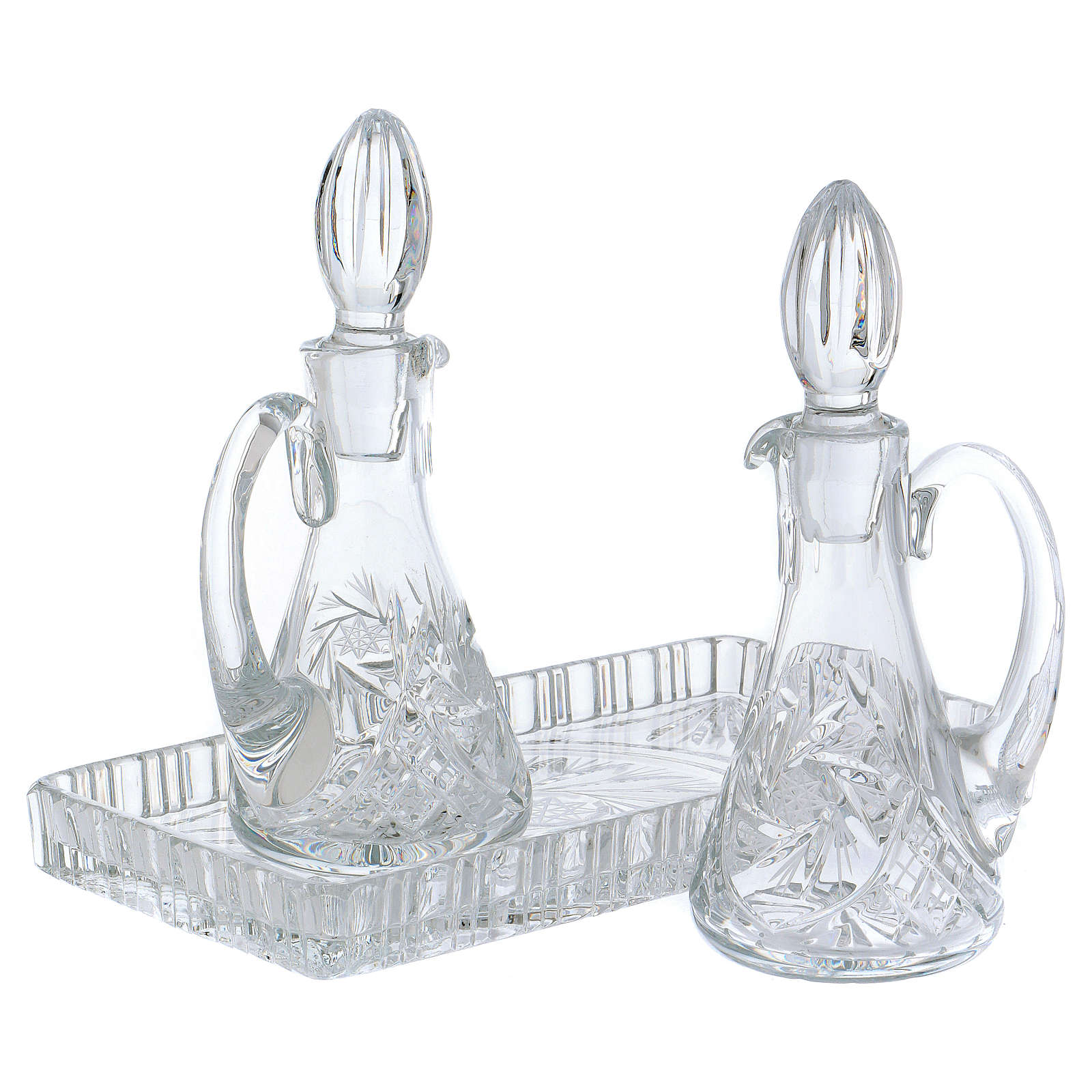 Set vinajeras misa cristal bandeja rectangular 4