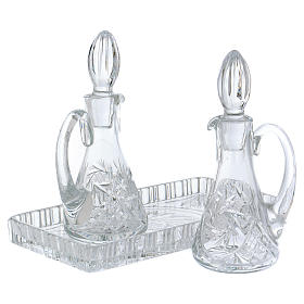 Cruet set for mass in crystal with rectangular carrying tray s2