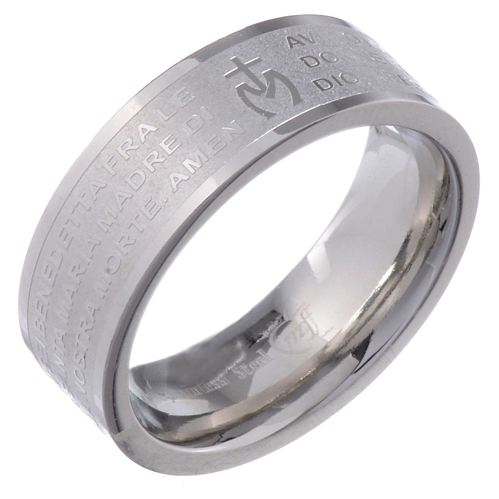 Hail Mary prayer ring in Italian - stainless steel LUX 3
