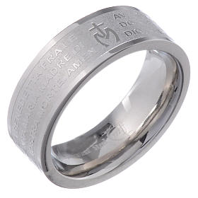 Prayer rings: Hail Mary prayer ring in Italian - stainless steel LUX
