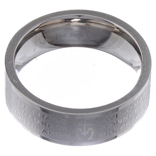 Hail Mary prayer ring in Italian - stainless steel LUX 2