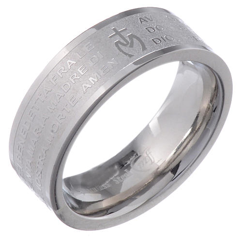 Hail Mary prayer ring in Italian - stainless steel LUX 1