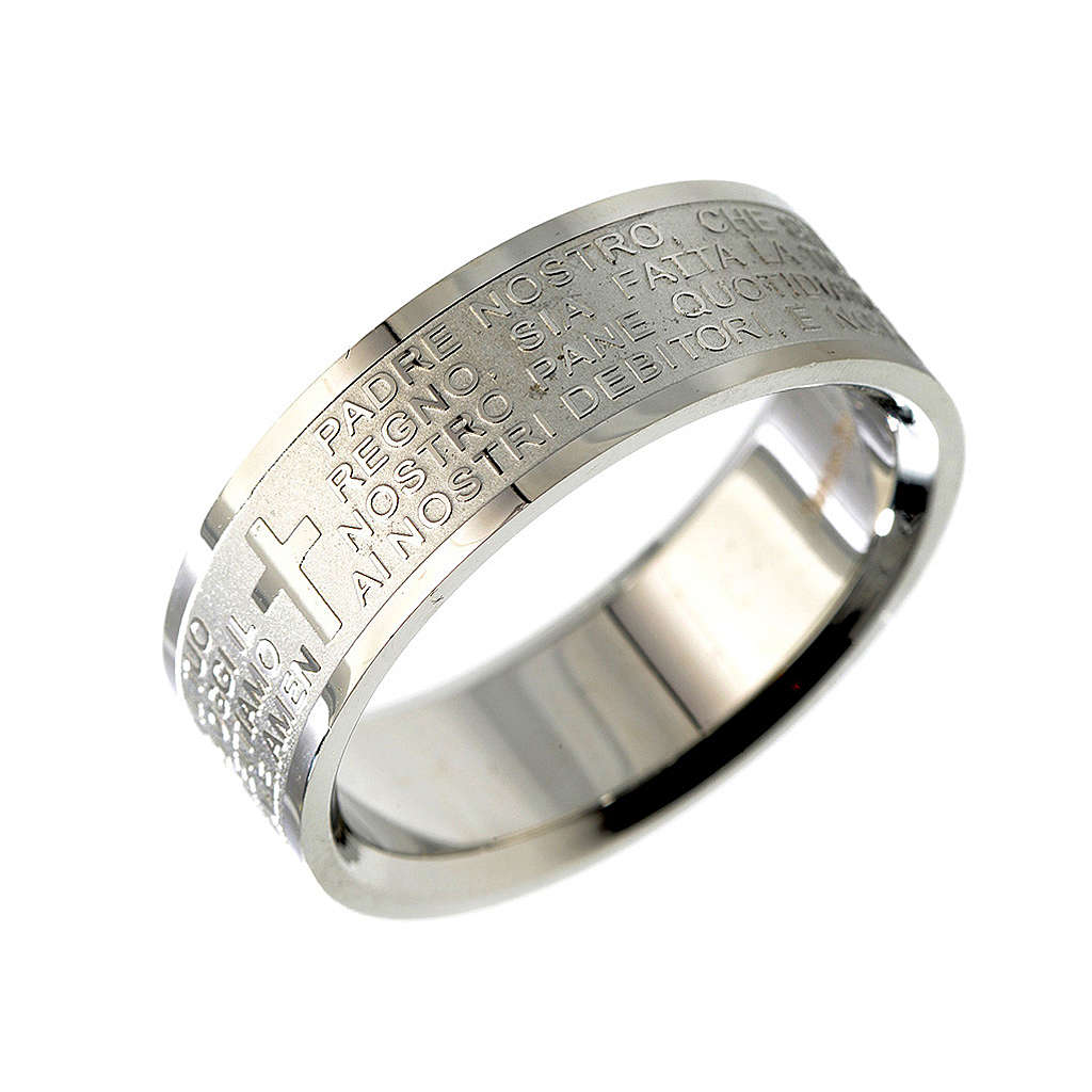 Our Father prayer ring in Italian - stainless steel LUX 3