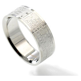 Our Father prayer ring in Italian - stainless steel LUX s2