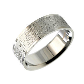 Our Father prayer ring in Italian - stainless steel LUX s1