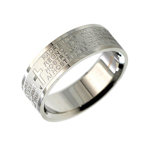 Our Father prayer ring in Italian - stainless steel LUX 1