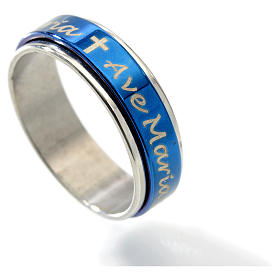 Rotating ring with Ave Maria blue glazed s2