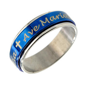 Prayer rings: Rotating ring with Ave Maria blue glazed