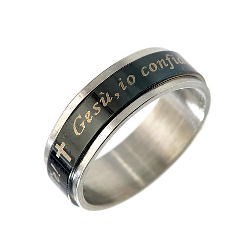 Revolving ring with I confide in Jesus black glazed 1