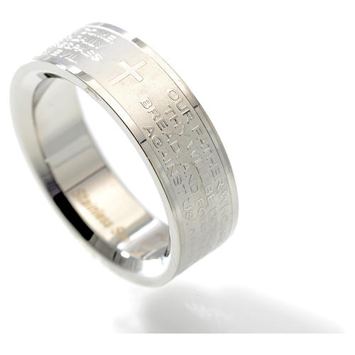 Our Father prayer ring in English - stainless steel LUX 2