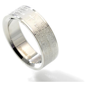 Our Father prayer ring in English - stainless steel LUX s2