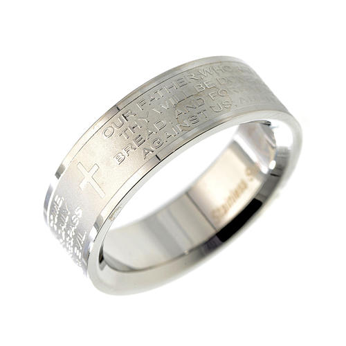 Our Father prayer ring in English - stainless steel LUX 1