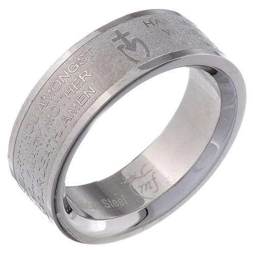 Prayer ring HAIL MARY in stainless steel - ENGLISH LUX 1