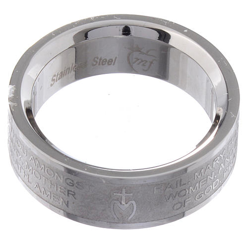Prayer ring HAIL MARY in stainless steel - ENGLISH LUX 2