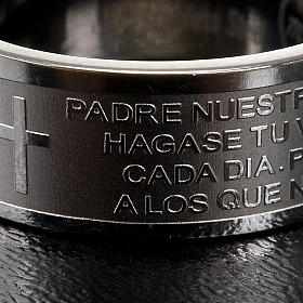 Our Father prayer ring in Spanish - stainless steel LUX s2