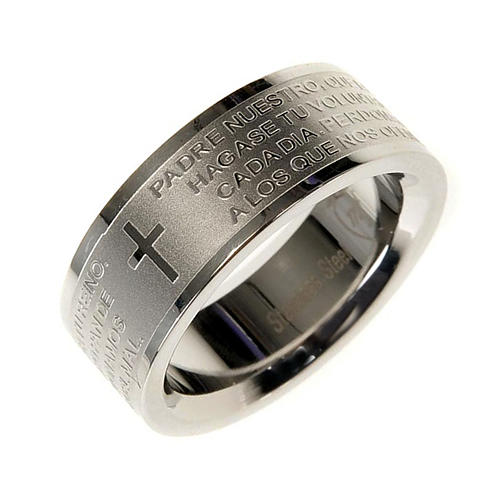 Our Father prayer ring in Spanish - stainless steel LUX 1