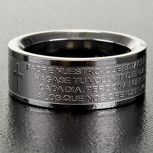 Our Father prayer ring in Spanish - stainless steel LUX 3