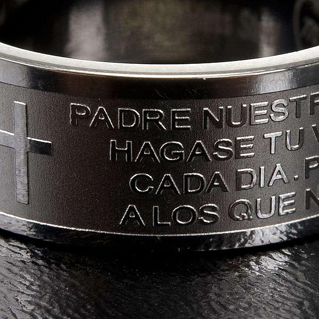 Pierścionek z modlitwą po hiszpańsku Ojcze Nasz Inox 3