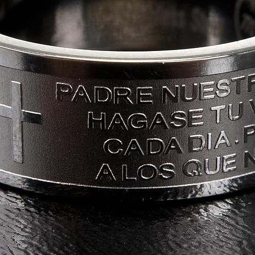 Pierścionek z modlitwą po hiszpańsku Ojcze Nasz Inox 2