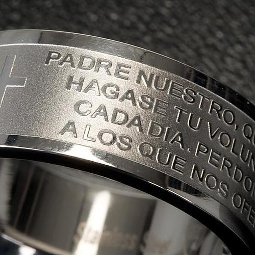 Pierścionek z modlitwą po hiszpańsku Ojcze Nasz Inox 4