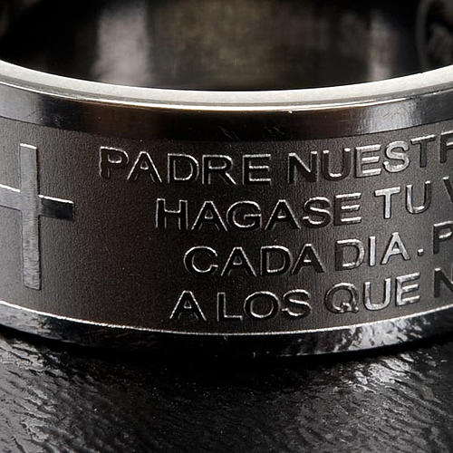 Our Father prayer ring in Spanish - stainless steel LUX 2