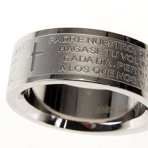 Our Father prayer ring in Spanish - stainless steel LUX 5