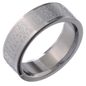 Hail Mary prayer ring in Spanish - stainless steel LUX s1