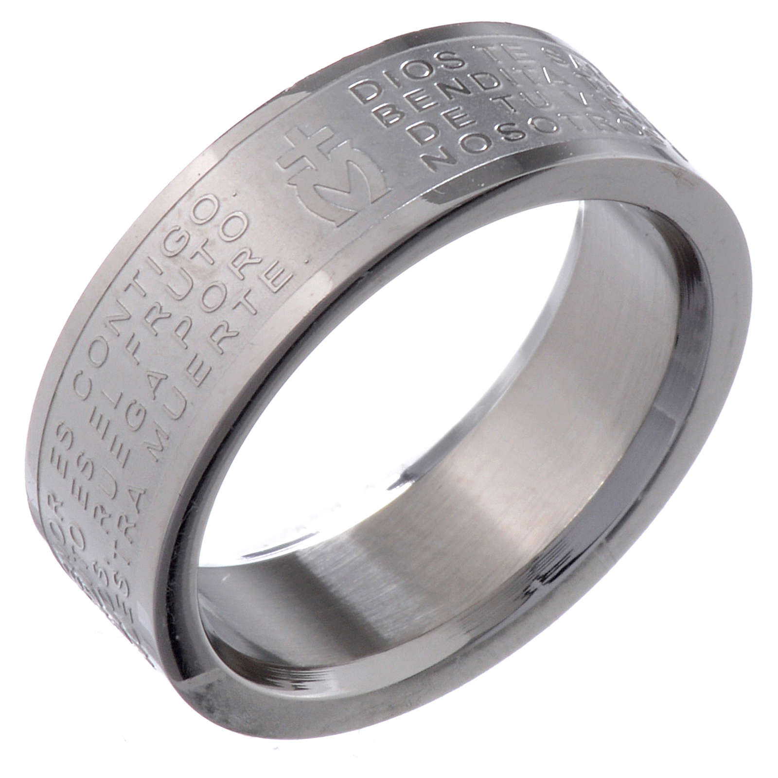 Hail Mary prayer ring in Spanish - stainless steel LUX 3