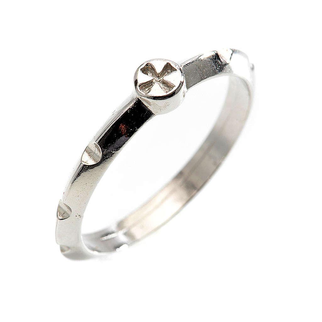 Rosario anillo plata decena  925 con cruz 3