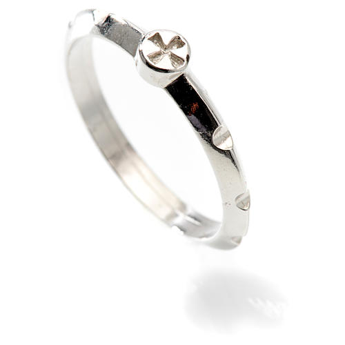 Rosario anillo plata decena  925 con cruz 2