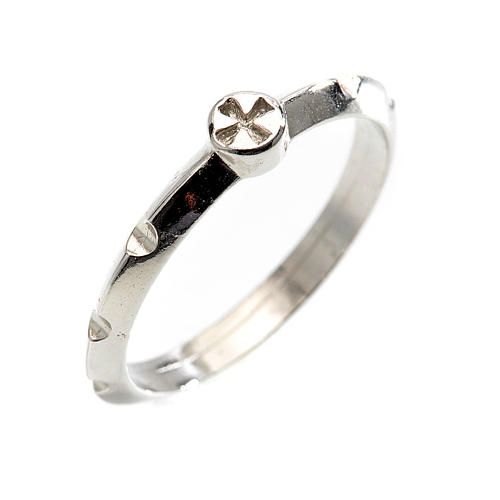 Rosario anillo plata decena  925 con cruz 1